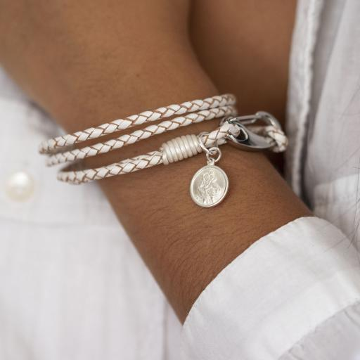 White Leather St Christopher Wristband