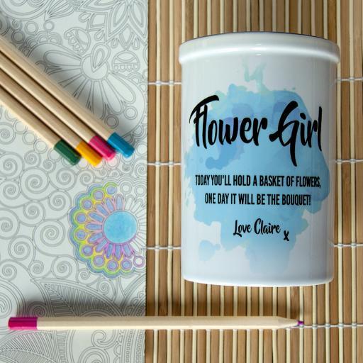 Personalised Flower Girl Vase - Blue