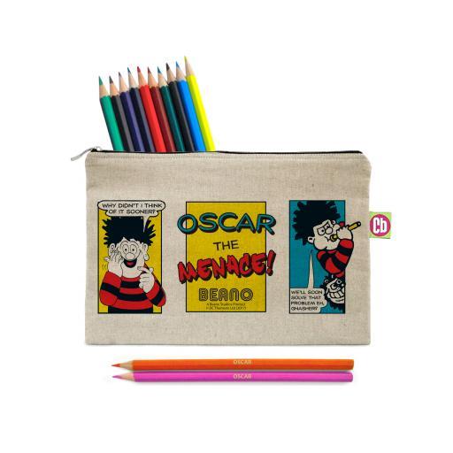 Beano Classic Comic Strip Problem Solved Canvas Pencil Case & Pencils