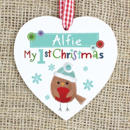 Felt Stitch Robin 'My 1st Christmas' Decoration