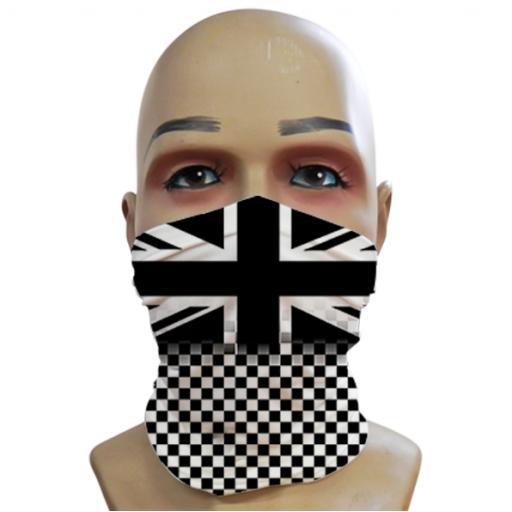 Union Jack - Black & White Fading Chequered - Mini Snood