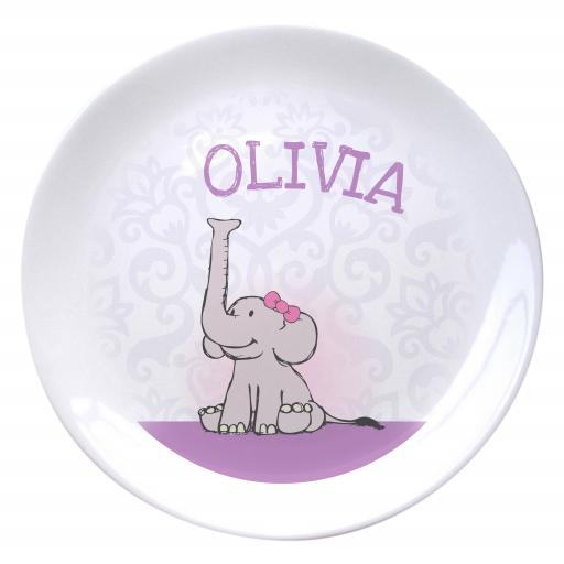 Baby Girl Elephant Bone China Plate