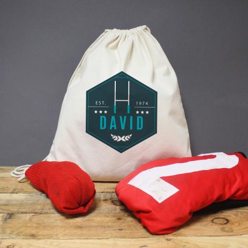 Blue Rugby Drawstring Kit Bag