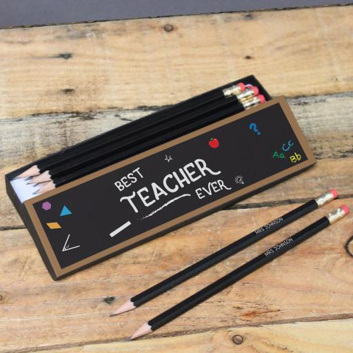Best Teacher Chalkboard Black Pencil Box & Pencils