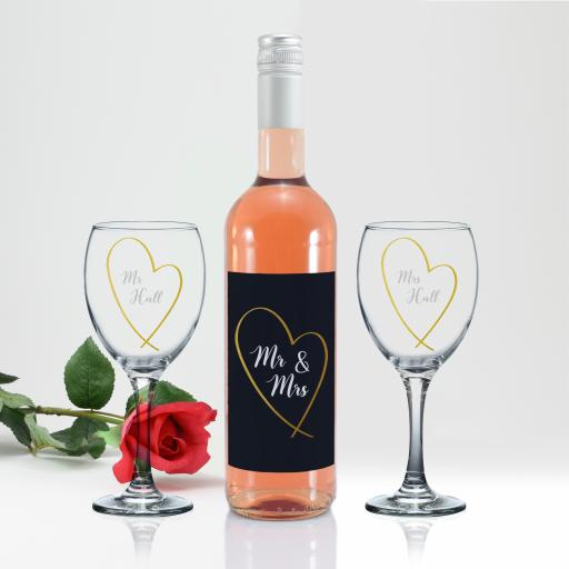 Mr & Mrs Gold Heart Rosé Wine Gift Set