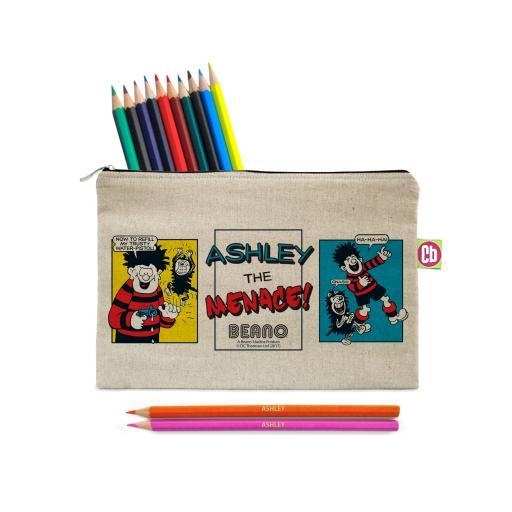 Beano Classic Comic Strip Water Pistol Canvas Pencil Case & Pencils
