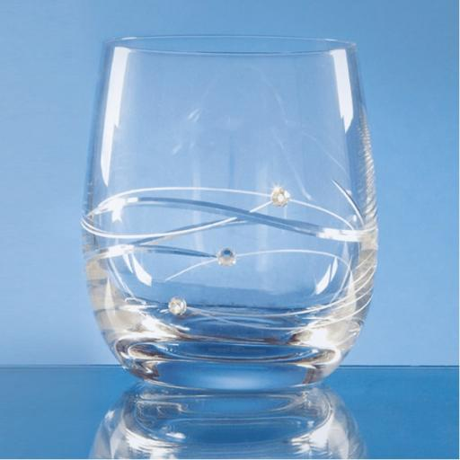 Diamante Whisky Tumbler with Spiral Design Cutting