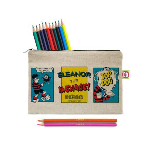 Beano Classic Comic Strip Top Dog Canvas Pencil Case & Pencils