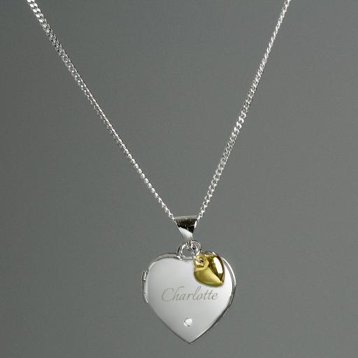 Sterling Silver Heart Locket and 9ct Gold Charm