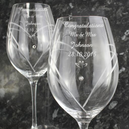 Personalised Hand Cut Diamante Wine Glasses with Swarovski