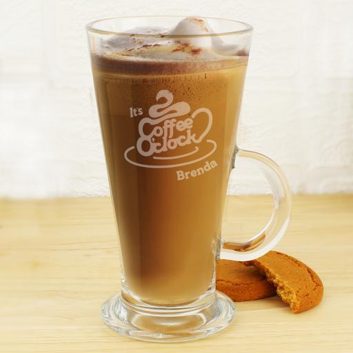 Personalised Coffee O Clock Latte Glass