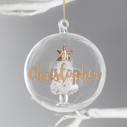 Personalised Christmas Tree Glass Bauble