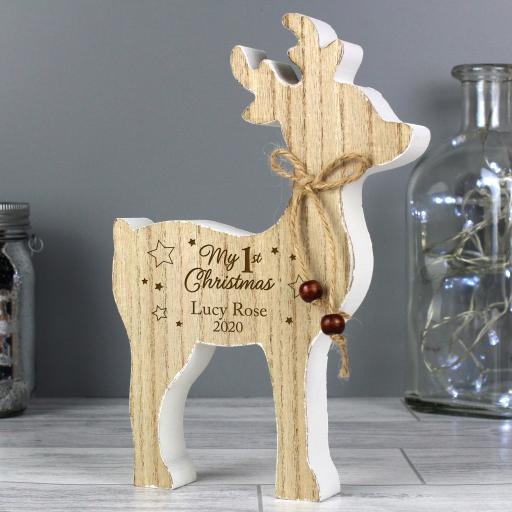 Personalised '1st Christmas' Wooden Reindeer Decoration