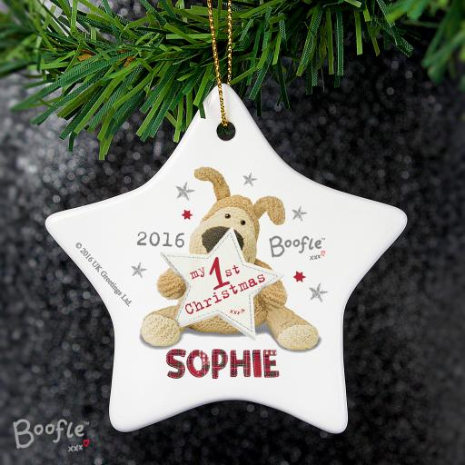 Personalised Boofle My 1st Christmas Ceramic Star Decoration