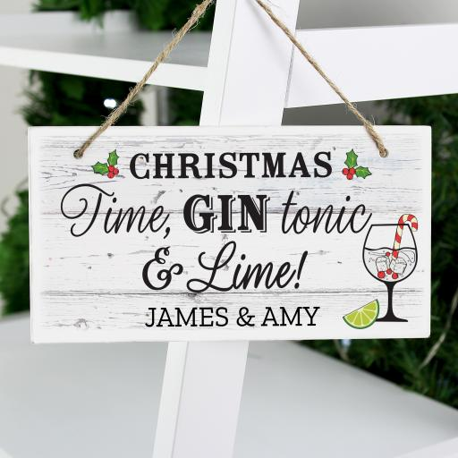 Personalised Christmas Gin Sign