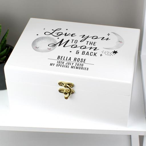 Personalised Baby To The Moon and Back Keepsake Box