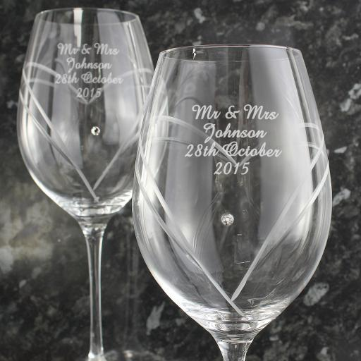 Personalised Diamante Heart Wine Glasses with Swarovski