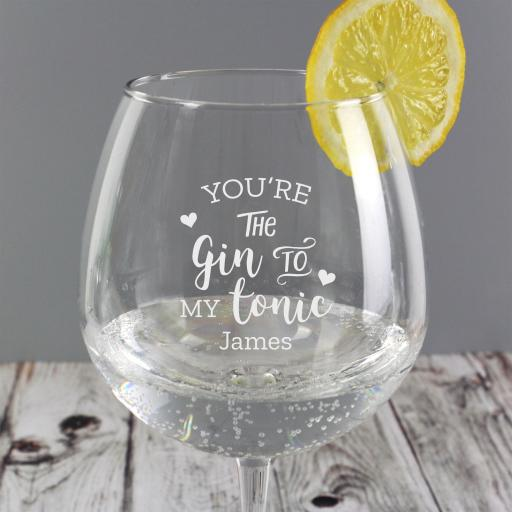Personalised 'Gin to My Tonic' Gin Glass