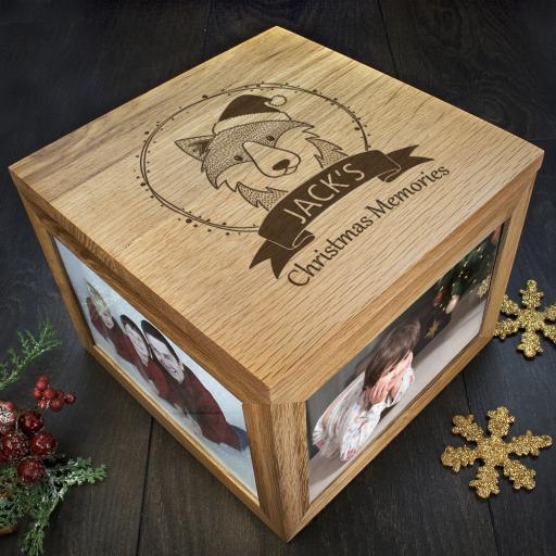 Personalised Woodland Animal Christmas Memory Boxes - Wolf