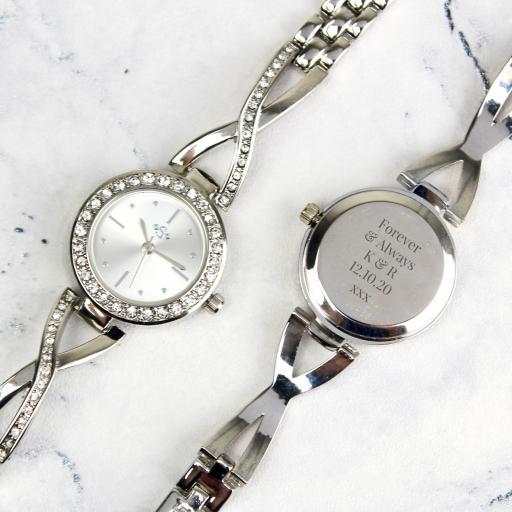 Personalised Silver Ladies Infinity Watch