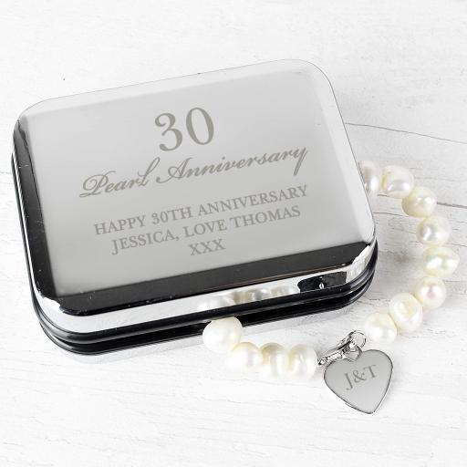 Personalised Silver Box and Pearl Bracelet