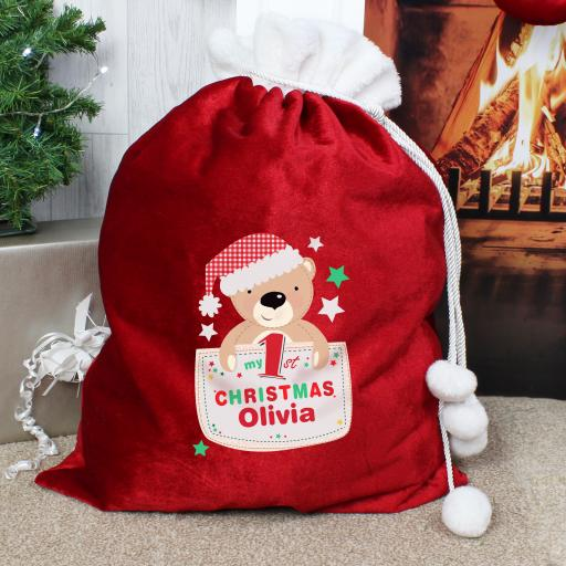 Personalised Pocket Teddy My 1st Christmas Sack