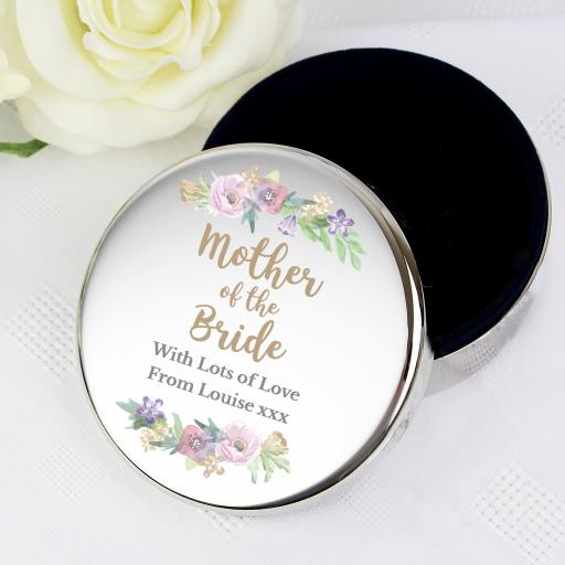 Personalised Mother of the Bride Round Trinket Box