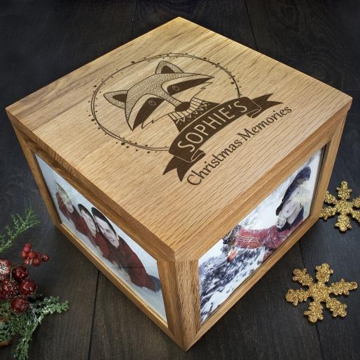 Personalised Woodland Animal Christmas Memory Boxes - Raccoon