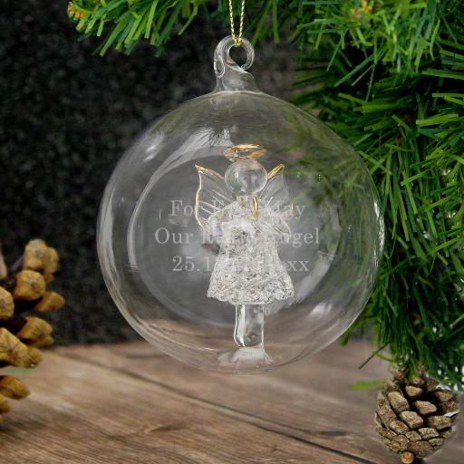 Christmas Angel Personalised Glass Bauble