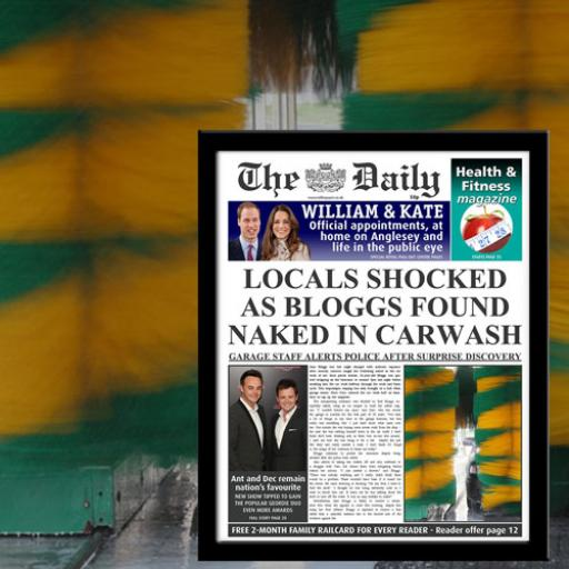 The Daily Naked In Carwash News Print - Male