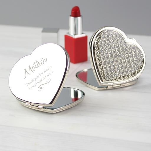 Personalised Swirls & Hearts Diamante Compact Mirror