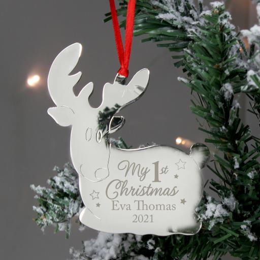 Personalised My 1st Christmas Reindeer Decoration