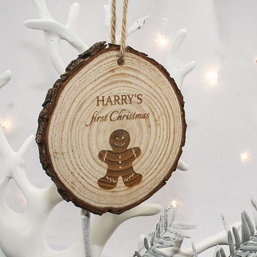 Personalised 'My First Christmas' Wooden Decoration
