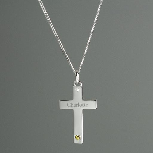 Personalised Sterling Silver Cross with 9ct Gold Heart Necklace