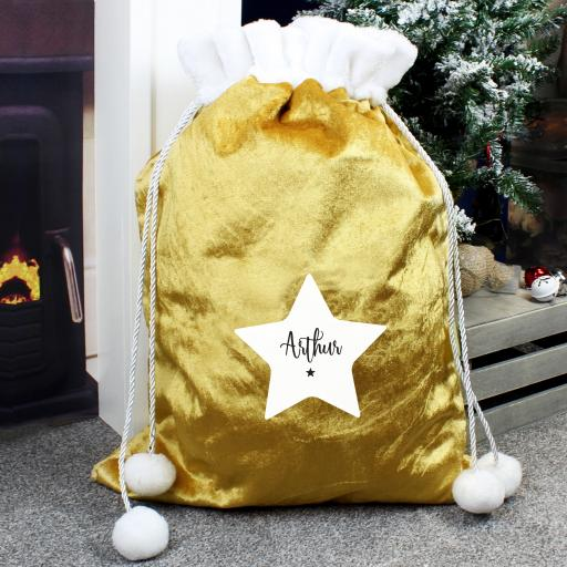 Personalised Gold Christmas Sack