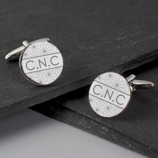 Personalised Geometric Round Cufflinks