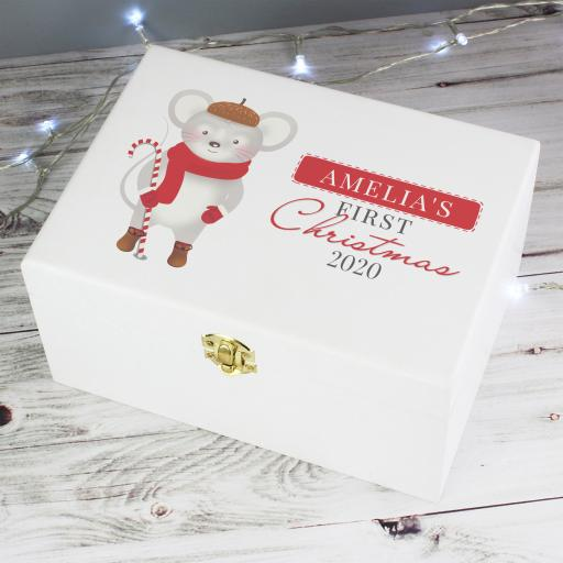 Personalised '1st Christmas' Mouse Keepsake Box