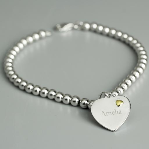 Personalised Silver and 9ct Gold Heart Bracelet