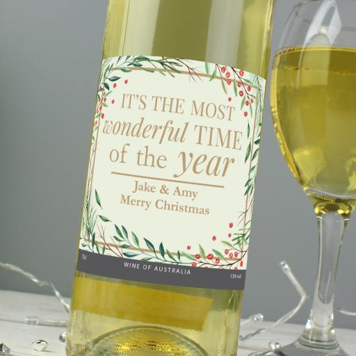 Personalised 'Wonderful Time of The Year' Wine