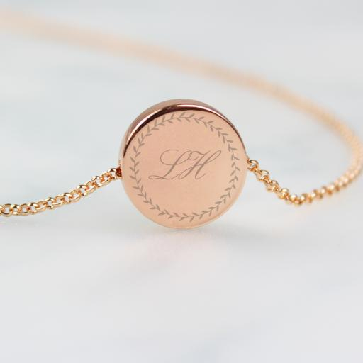 Personalised Wreath Initials Rose Gold Necklace