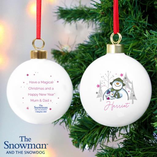 The Snowman and the Snowdog Pink Personalised Bauble