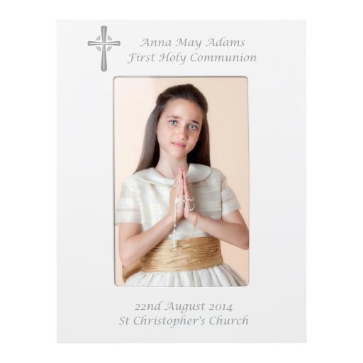 Personalised Cross White Photo Frame