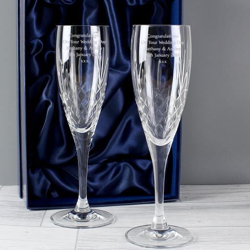 Personalised Crystal Champagne Flutes