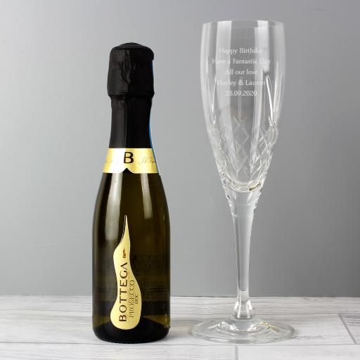 Personalised Crystal Flute and Miniature Prosecco Set