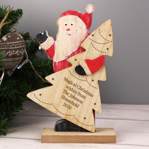 Personalised Santa Wooden Decoration