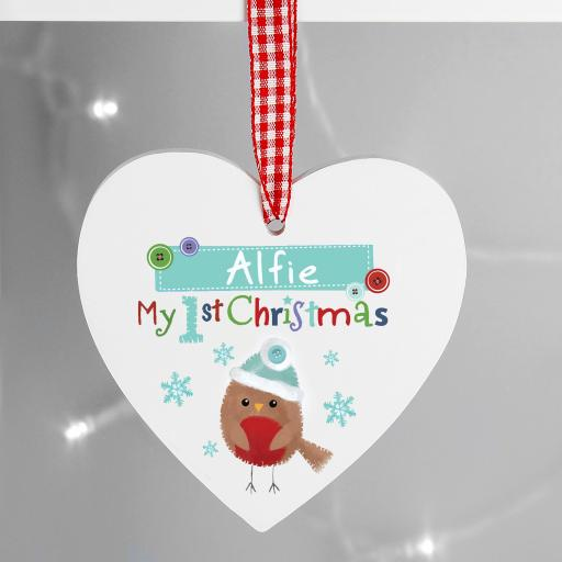 Felt Stitch Robin 'My 1st Christmas' Personalised Decoration