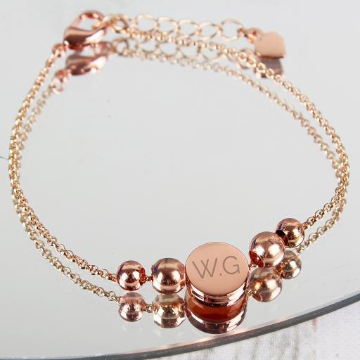 Rose Gold Tone Initials Disc Bracelet