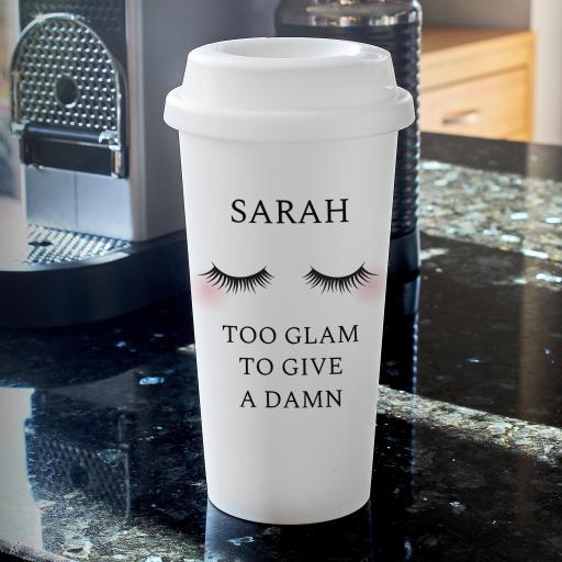 Eyelashes Double Walled Travel Mug