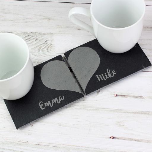 Two Hearts Slate Coaster Set