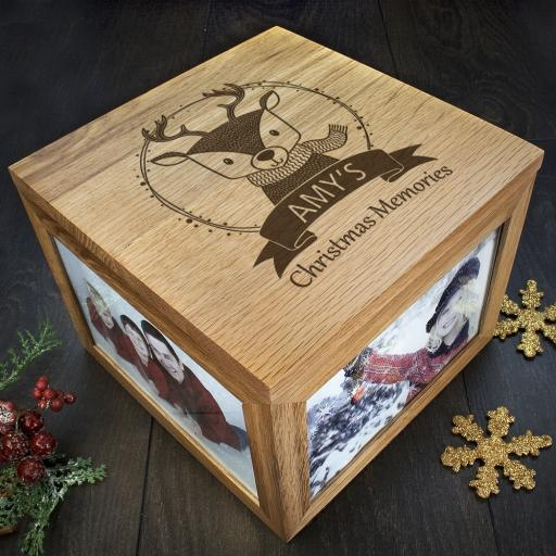 Personalised Woodland Animal Christmas Memory Boxes - Reindeer